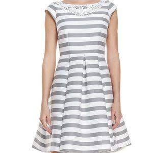 Kate Spade Mariella gray white striped dress 4
